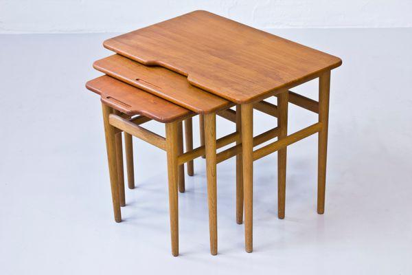 Genial Vintage Danish Teak And Oak Nesting Tables By Kurt Østervig For Jason  Møbler 1