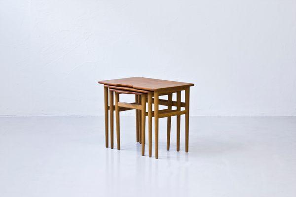 Vintage Danish Teak And Oak Nesting Tables By Kurt Østervig For Jason  Møbler 2