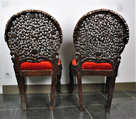Carved Wood Chairs India Set Of 2 For, Carved Wooden Indian Furniture