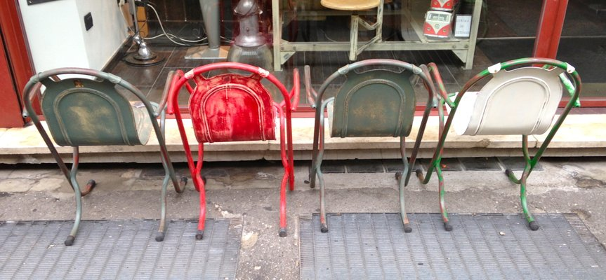 Industrial Metal Stacking Chairs, 1940s, Set Of 4 5