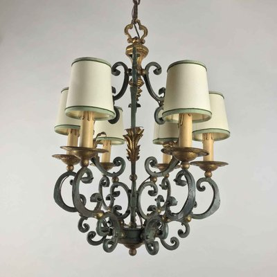 Wrought Iron Lacquered And Gilded, Wrought Iron Chandelier Nz