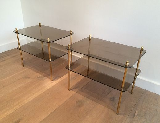 Vintage Glass TwoTier Side Tables Set Of For Sale At Pamono - Two tier glass side table