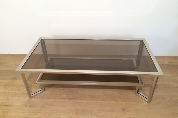 Chrome U0026 Smoked Glass Coffee Table