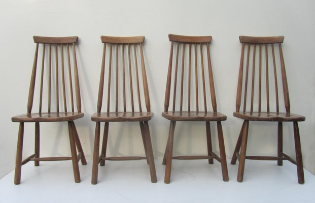 Mid Century Swedish High Back Spindle Chairs, Set Of 4 2