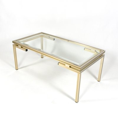 French Silver And Gold Coffee Table By Pierre Vandel 1970s 2