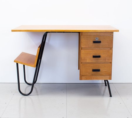 French Oak Desk From Spirol 1950s For, American Trails Art Deco Writing Desk