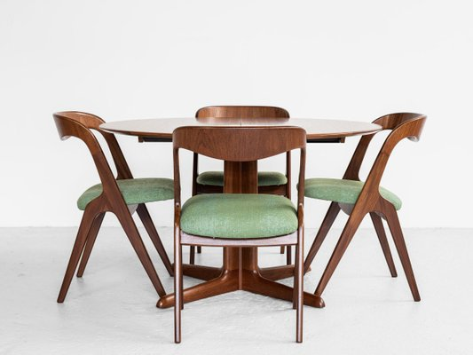 Mid Century Danish Round Dining Table, Round Dining Table Set With Extensions