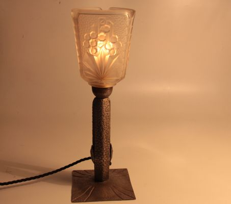 French Art Deco Wrought Iron Table Lamp for sale at Pamono