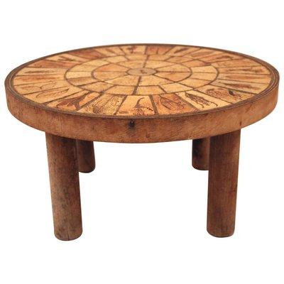 Table Basse En Ceramique Et Bois Par Roger Capron France 1970s En