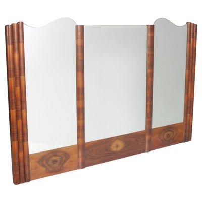 Specchio da parete grande Art Déco in noce, anni \'30