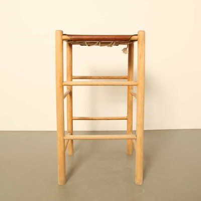 Pleasant Vintage Leather And Wood Stool 1970S Pdpeps Interior Chair Design Pdpepsorg