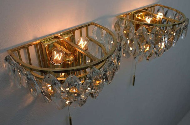 Applique da parete in ottone dorato e cristallo di palwa anni