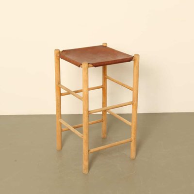 Brilliant Vintage Leather And Wood Stool 1970S Pdpeps Interior Chair Design Pdpepsorg