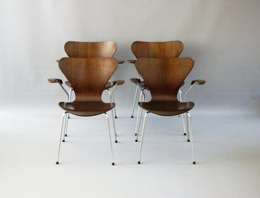 Fritz Hansen Stoel : Dark oak chairs by arne jacobsen for fritz hansen set