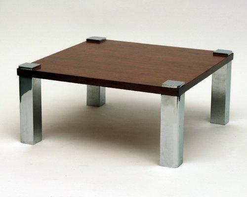 Etonnant Vintage Wood U0026 Chrome Coffee Table, 1970