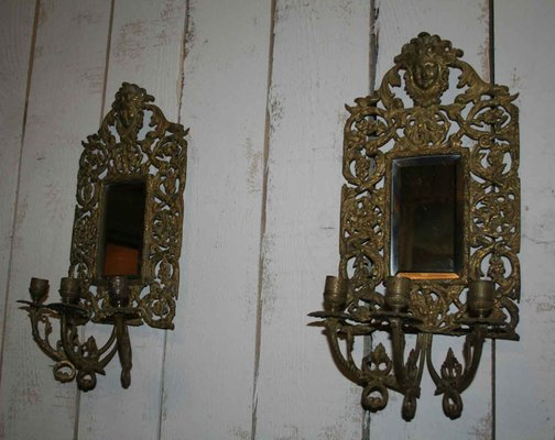 Applique da parete specchiati antichi in bronzo set di in