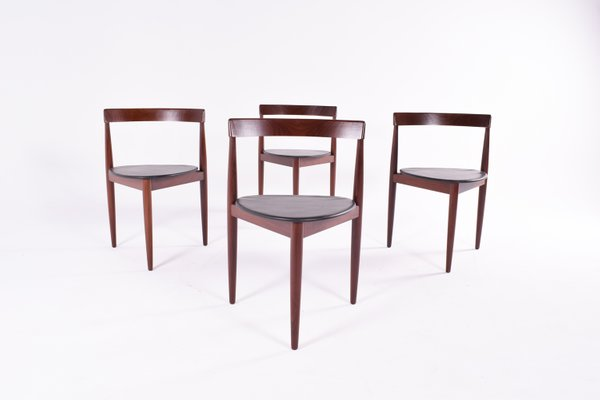 Teak Triangle Dining Chairs By Hans Holsen For Frem Røjle, 1960s, Set Of 4