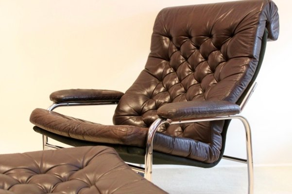 Terrific Bore Leather Lounge Chair With Footstool By Noboru Nakamura For Ikea 1970S Short Links Chair Design For Home Short Linksinfo