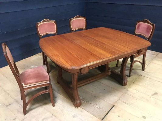 Antique French Mahogany Dining Table 6 Chairs Set