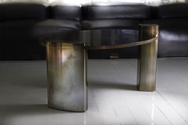 New Moon Hand Patinated Brass Wood Veneer Cocktail Coffee Table