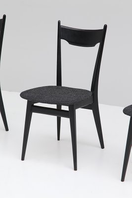 Black Ebonized Wood Dining Chairs 1970s Set Of 4 For Sale At Pamono