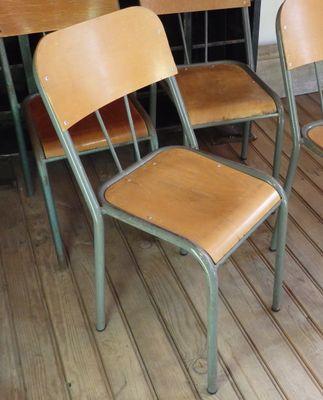 wood metal school chair 1950s