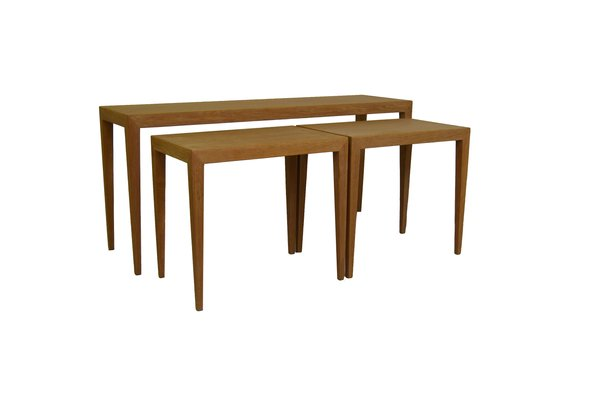 Merveilleux Nest Of Oak Tables By Severin Hansen Jr. For Haslev Møbelfabrik, Set Of 3
