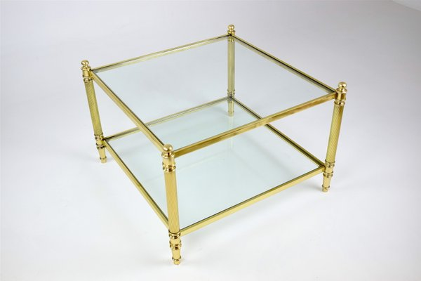 Vintage French Brass Two Tier Glass Coffee Table 1970s For Sale At