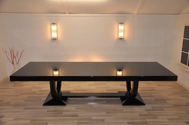 Tavolo da pranzo Art Déco con 12 sedie abbinate in vendita su Pamono