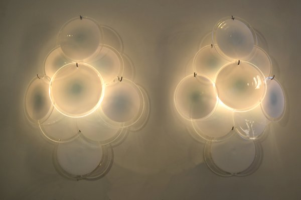 Applique vintage con dischi in vetro bianco di vistosi set di 2 in