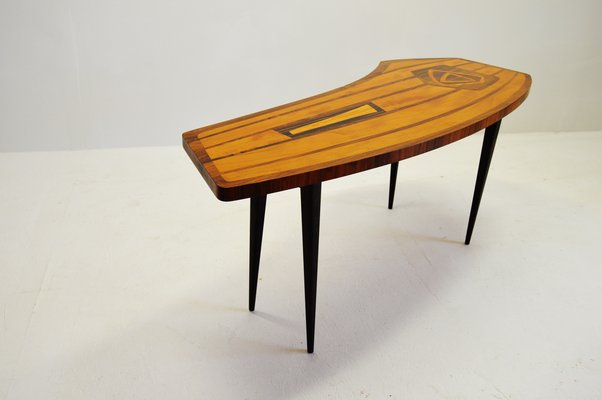 Incroyable Swedish Coffee Table With Intarsia, 1950s 1