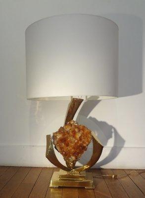 À Dorures Lampe Duval Cristal Table Brasseur1970s Et Pierre Par En De Laiton Jacques 354RjLAcq