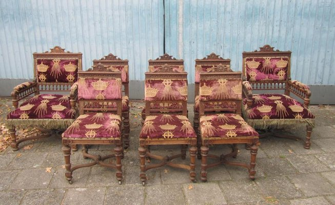 Antique Belgium Carved Oak Dining Chairs, Set of 8 - Antique Belgium Carved Oak Dining Chairs, Set Of 8 For Sale At Pamono
