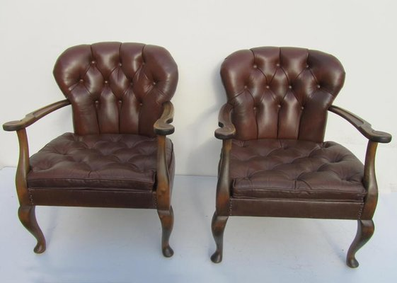 Queen Anne Style Leather Chairs 1940s Set Of 2