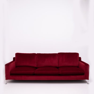 Red Velvet Three-Seat Harry Sofa by Antonio Citterio for B&B Italia, 1990s