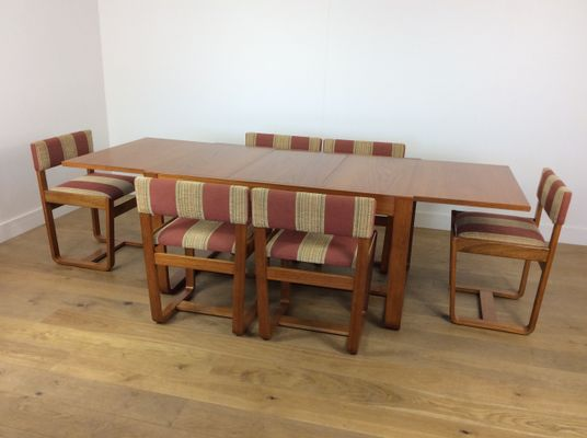 Mid Century Dining Table And 6 Chairs By Gunther Hoffstead For Uniflex