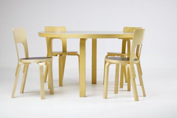 Exceptionnel Vintage Dining Set By Alvar Aalto For Artek, Set Of 5 1