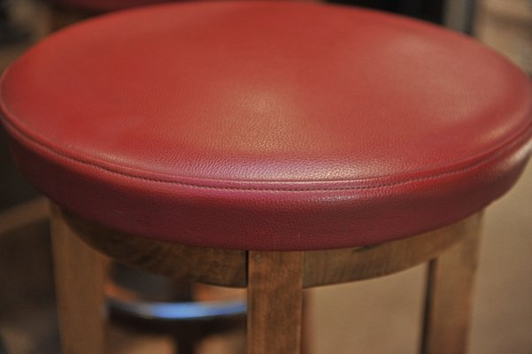 Tremendous Beech And Red Leather Bar Stool 1950S Alphanode Cool Chair Designs And Ideas Alphanodeonline