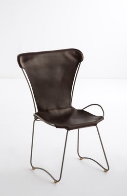 old silver steel and dark brown vegetable tanned leather hug chair rh pamono com