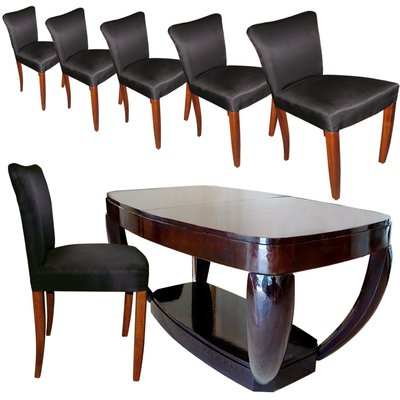 Art Deco Dining Table Chairs Set By Hubert Martin Et Ploquin For Marber 1930s