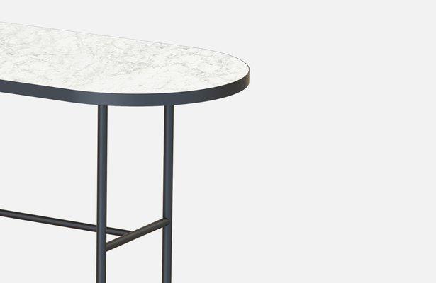 Table Basse Eva En Plaque Laiton Avec Plateau En Marbre Noir Par Alex Baser Pour Miist