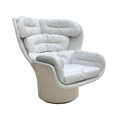 Elda White Leather Fibergl Swivel Lounge Chair By Joe Colombo 1963