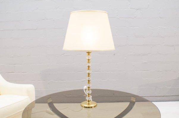Lampe de Bureau Hollywood Regency en Cristal de Verre & Laiton, Italie, 1960s
