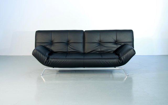 canap lit vintage smala noir en cuir ajustable par pascal mourgue pour ligne roset 1 - Ligne Roset Canape