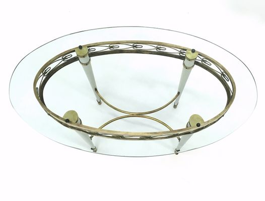 Charmant Oval Glass Coffee Table With A Brass Motif, Italy, 1950s