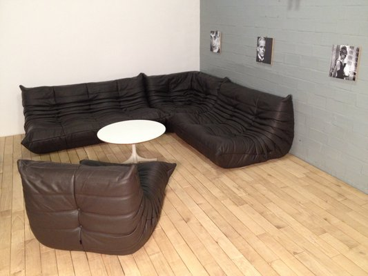 Chocolate Brown Leather Togo Sofa Set By Michel Ducaroy For Ligne Roset 1970s
