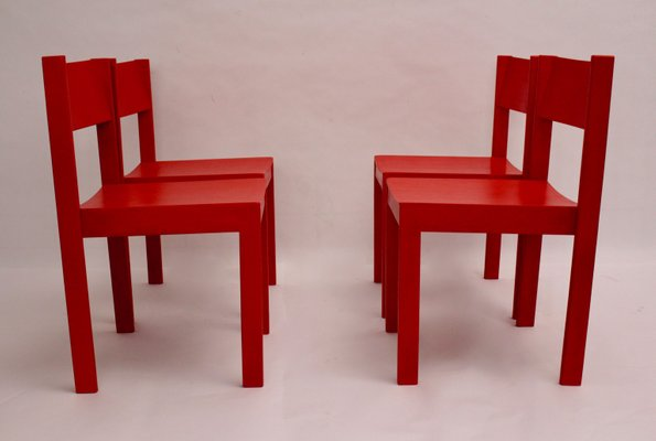 Mid-Century Red Dining Room Chairs by Carl Auböck for E. & A. Pollak, Set  of 4