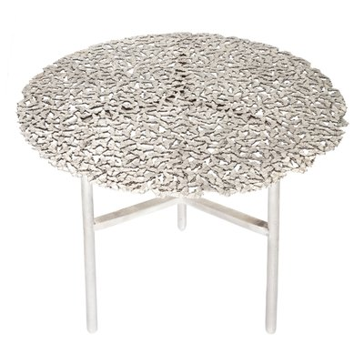 Jean Cast Butterfly Indoor Or Outdoor Side Table In White Bronze By