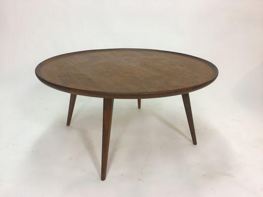 Mid Century Round Teak Coffee Table, 1950s 6