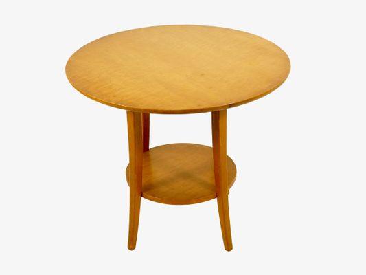 Bon Vintage Circular Birch Wood Coffee Table, 1950s 4